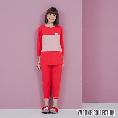 YVONNE豬豬貼繡七分袖上衣- 紅/ 淺粉