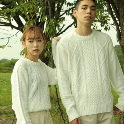 毛衣上衣麻花粗針織圓領素面(17色) -ZIP日本男裝