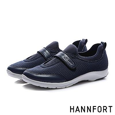 HANNFORT EASY WALK質感鑽砂氣墊健走鞋-女-亮彩藍