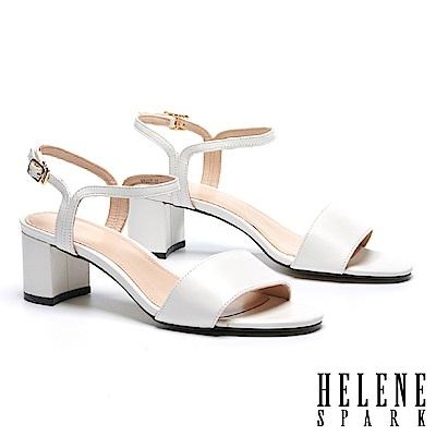 涼鞋 HELENE SPARK 簡約一字造型細帶全真皮粗高跟涼鞋-白