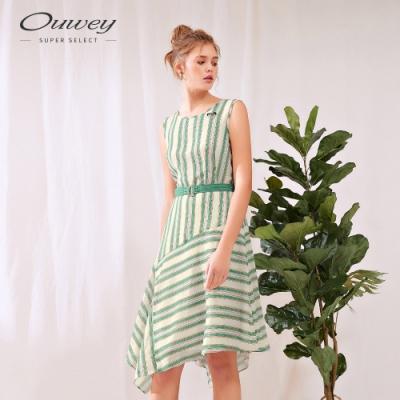 OUWEY歐薇 輕柔緹花條紋不規則洋裝(綠)