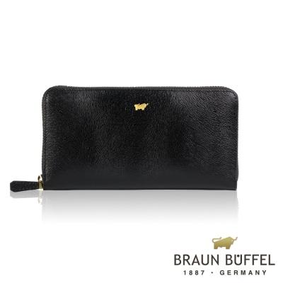 BRAUN BUFFEL - 奧菲莉亞P系列12卡拉鍊長夾 - 深黑