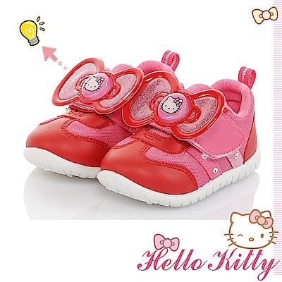 HelloKitty電燈鞋 大蝴蝶結減壓抗菌防臭休閒童鞋-桃紅