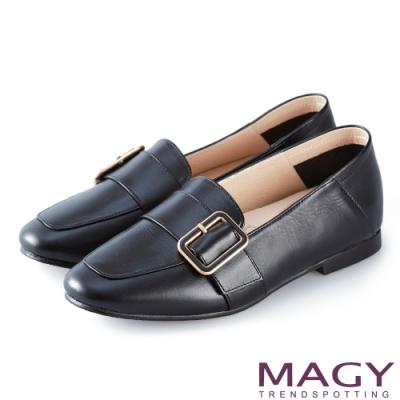 MAGY 復古潮流 氣質素面皮孟克鞋-黑色