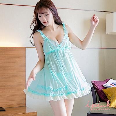 i PINK 柔幻美紗 蕾絲網紗連身裙裝睡衣(綠)