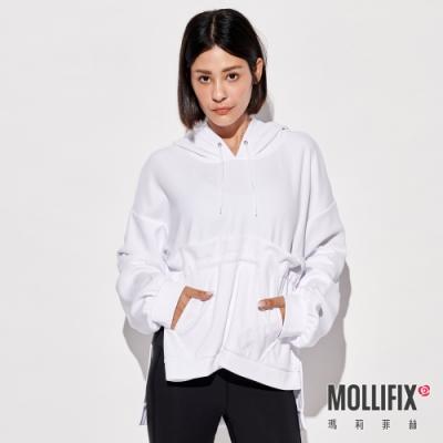 Mollifix 瑪莉菲絲 造型剪裁前口袋連帽上衣 (白)