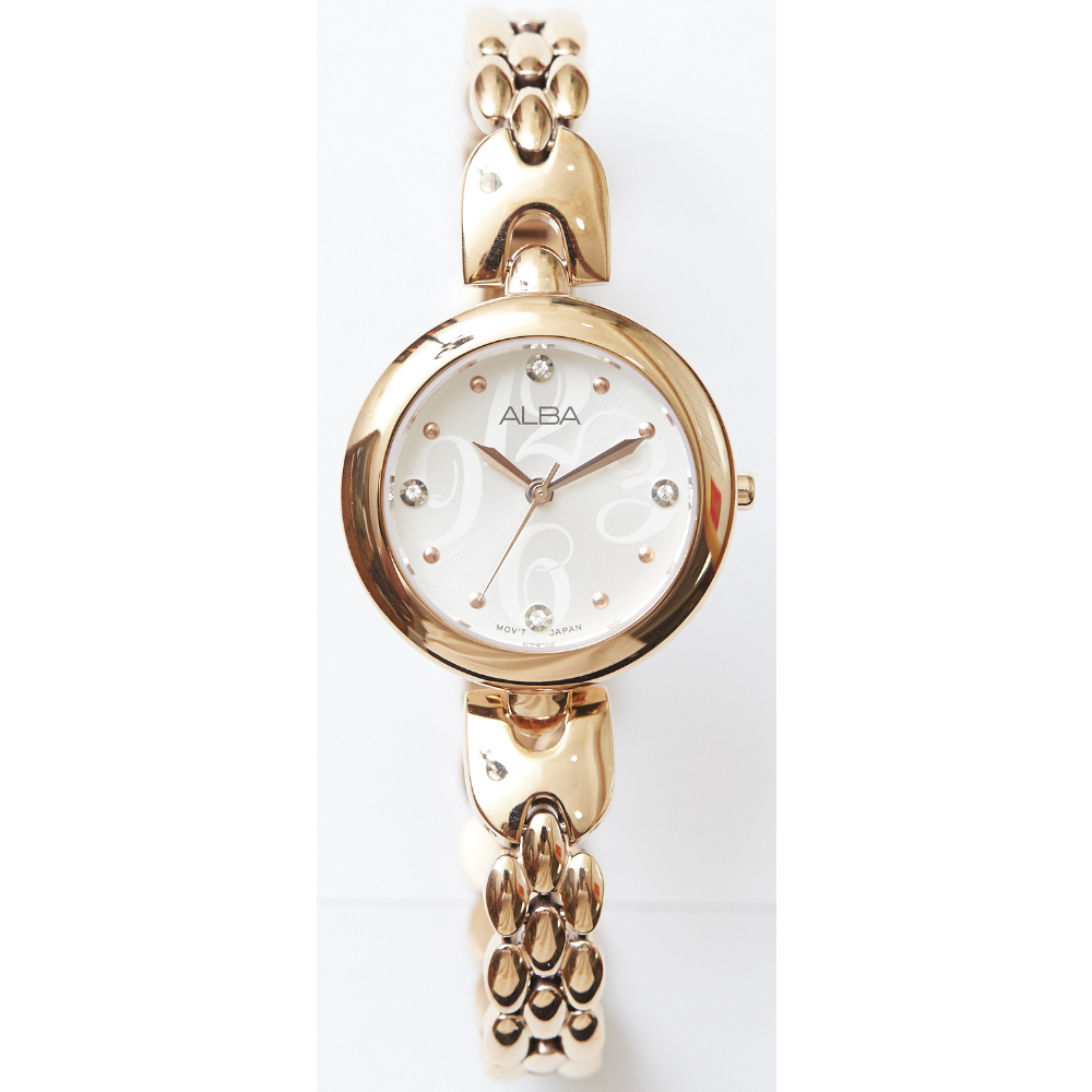ALBA雅柏手錶 小資女浪漫系列晶鑽女錶-IP金(AH8328X1)/28mm 保固二年