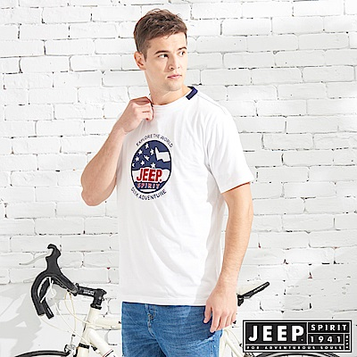 JEEP 美式立體徽章純棉短袖TEE-白色