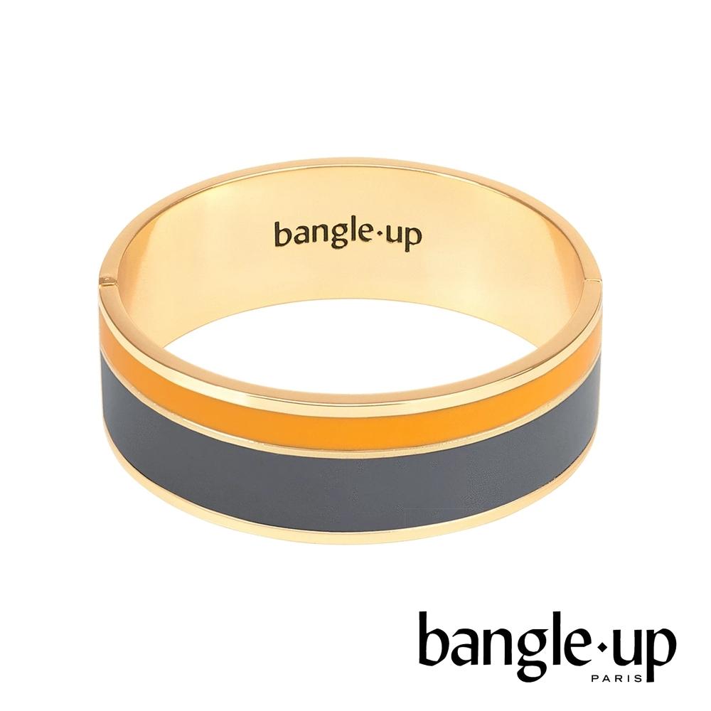 BANGLE UP 簡約條紋琺瑯鍍金寬手環 -灰黃
