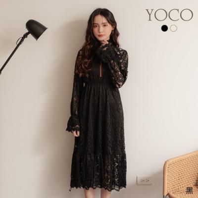 東京著衣-YOCO 柔美仙氣蕾絲撞色綁帶縮腰喇叭袖洋裝