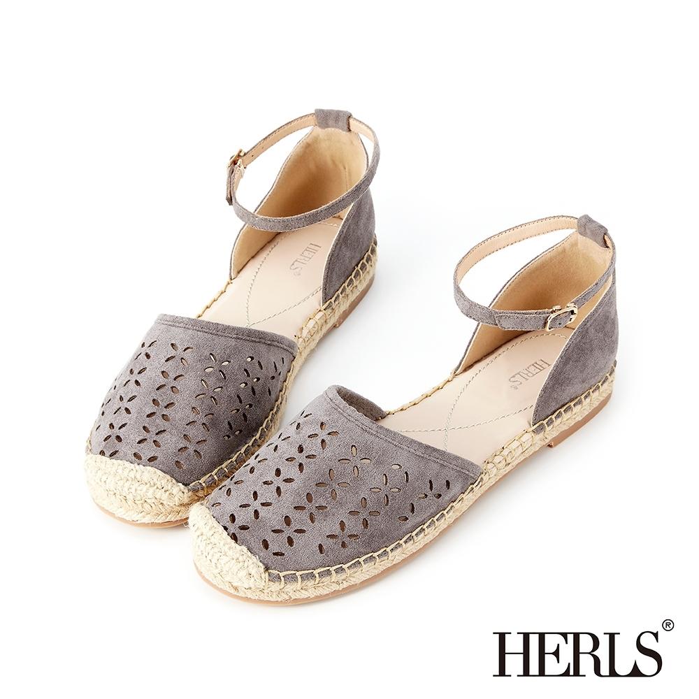 HERLS 兩穿鏤空麂皮絨踝帶麻底涼鞋(附緞帶)-灰色