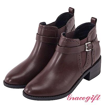 Grace gift-牛津雕花帶釦側鬆緊短靴 深咖