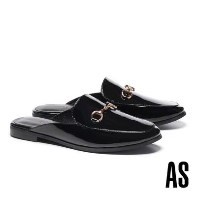 穆勒鞋 AS 經典復刻時尚馬銜釦漆皮低跟穆勒拖鞋-黑