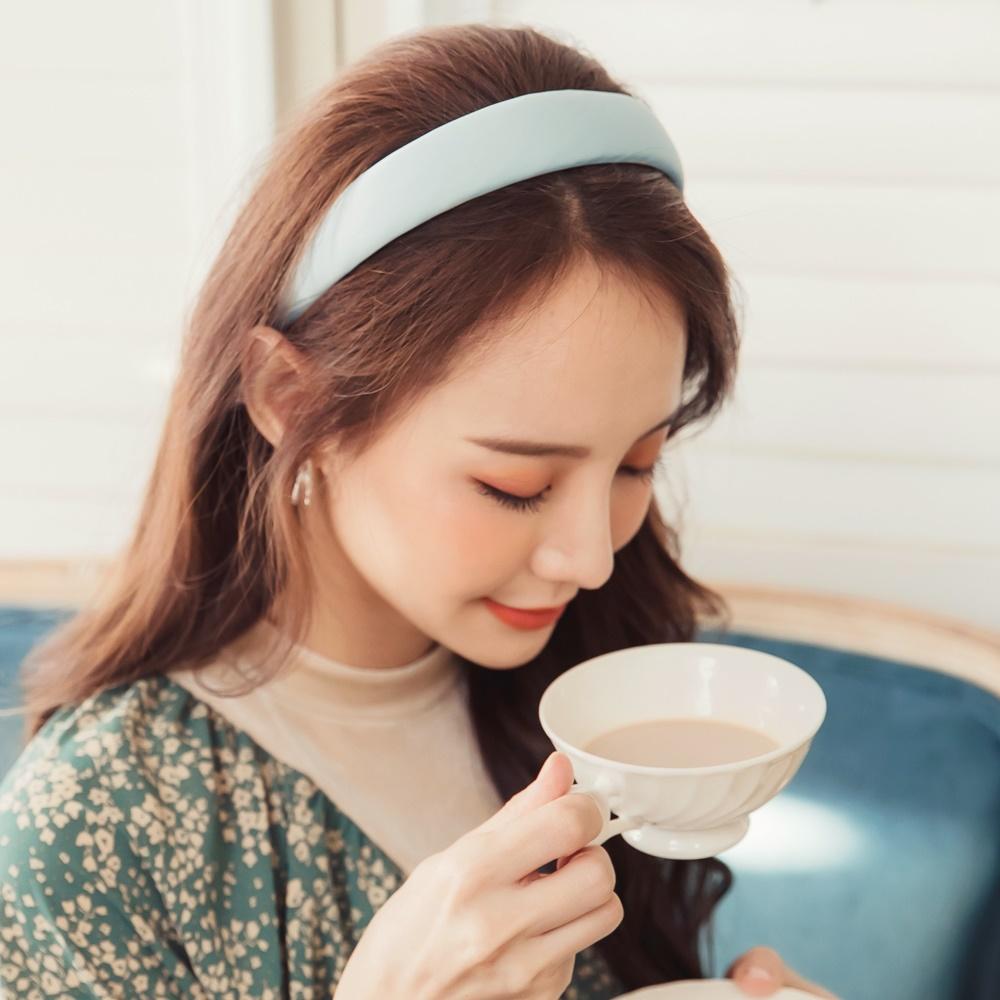 韓系純色絲質光澤鼓鼓髮箍-OB大尺碼