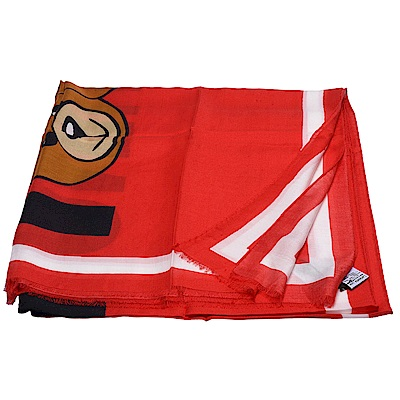 MOSCHINO 經典小熊玩偶圖案流蘇造型莫代爾混羊絨披肩/圍巾(紅X白)
