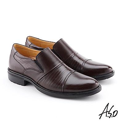 A.S.O 零壓挺力 牛皮摺紋輕量奈米紳士鞋 咖啡
