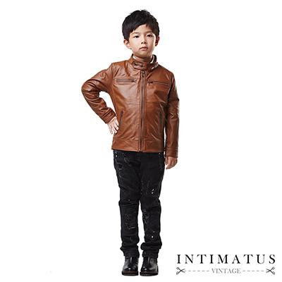 INTIMATUS 真皮 小立領皮衣 男童裝 焦糖棕色