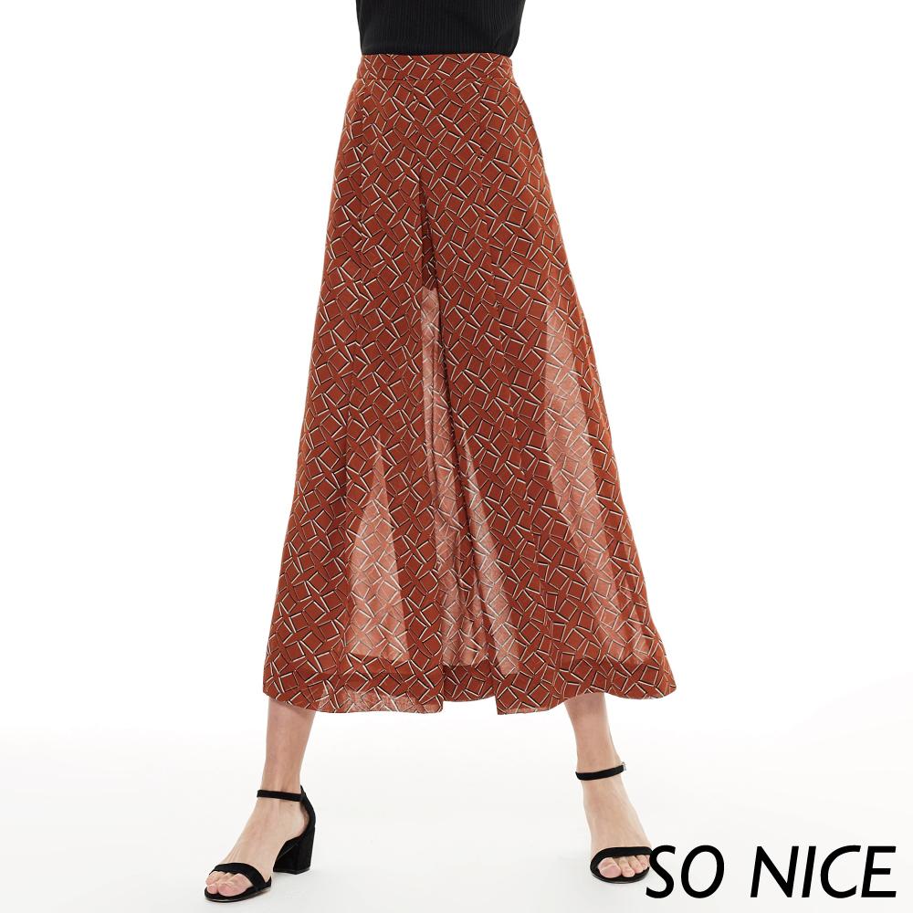 SO NICE時尚幾何印花雪紡寬褲