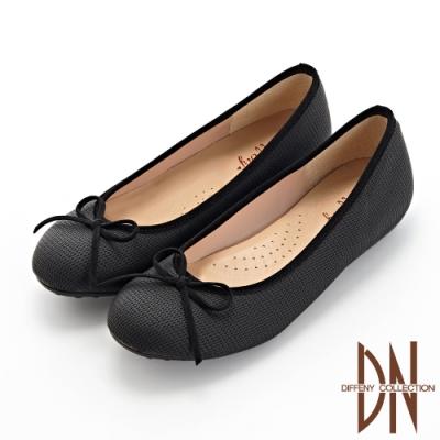 DN平底鞋_MIT甜美蝴蝶結拼接壓紋豆豆鞋-黑
