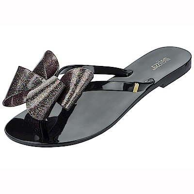 MELISSA KID 甜美滿分蝴蝶結夾腳鞋-黑