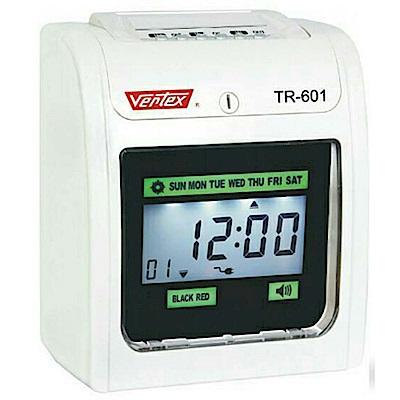 VERTEX TR-601 六欄位大型液晶打卡鐘+贈卡片100張+卡架10人份