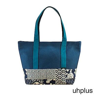 uhplus 和風托特包- 青和柄