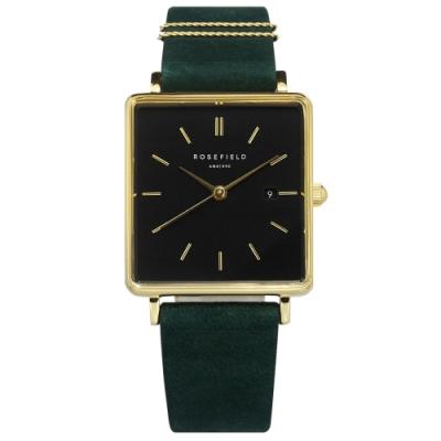 ROSEFIELD 簡約典雅 復古方形 真皮手錶-黑x金框x森林綠 QBFGG-Q031 26mm