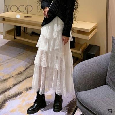 東京著衣-YOCO 唯美仙氣蕾絲網紗多層次長裙