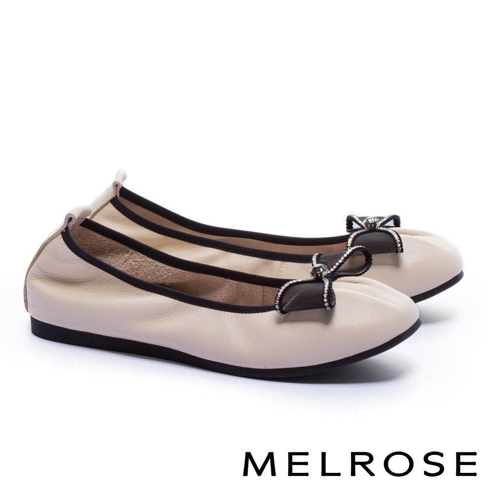 娃娃鞋 MELROSE 氣質甜美水鑽蝴蝶結網紗全真皮娃娃鞋-米