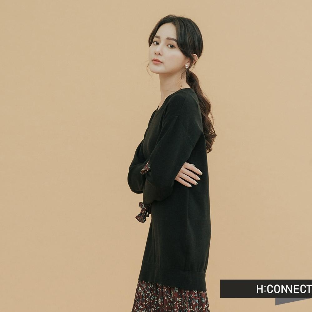 H:CONNECT 韓國品牌 女裝-針織拼接百摺洋裝-黑