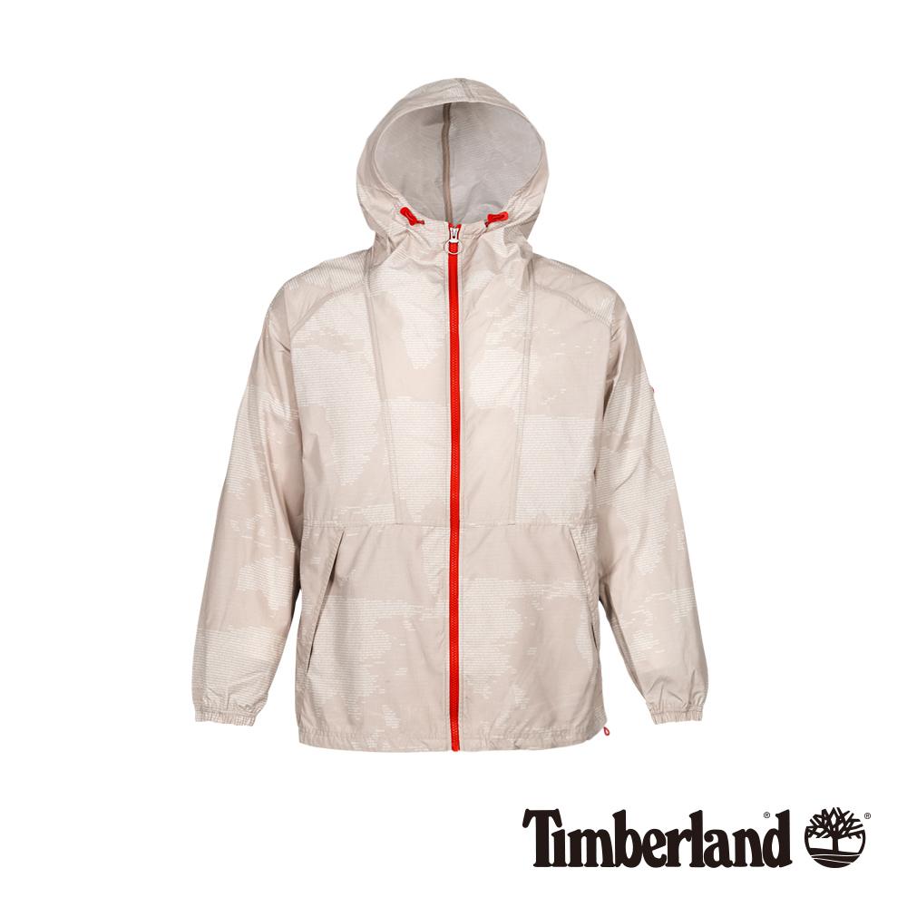 Timberland 男款山羊绒色輕薄印花防風連帽外套|A1OKG