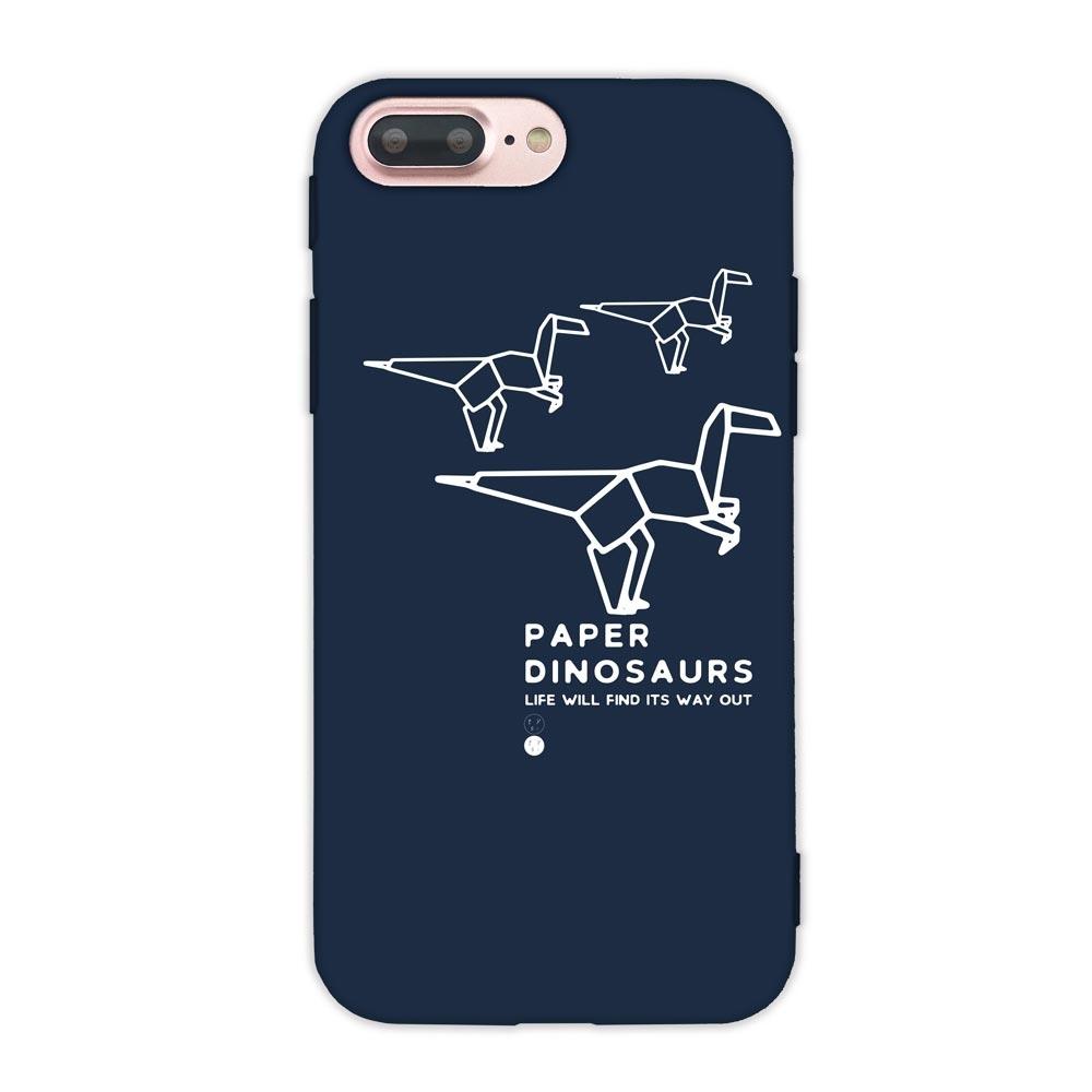 【TOYSELECT】iPhone 7/8 Plus幾何恐龍設計手機殼:跳跳龍 (深藍色)