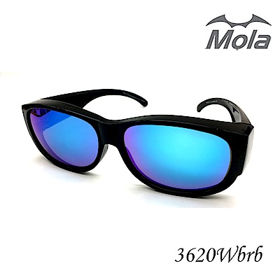 MOLA摩拉前掛式偏光太陽眼鏡套鏡冰藍彩色多層膜 男女一般臉型 近視可戴-3620Wbrb