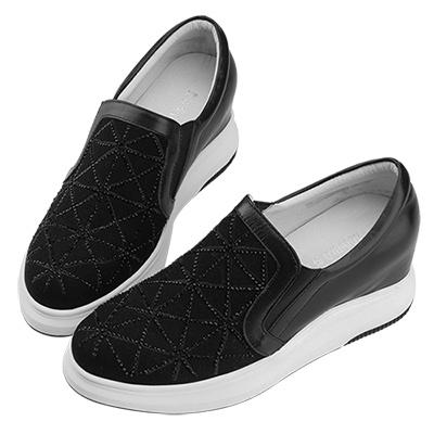 Robinlo & Co.運動感幾何拼接牛皮內增高休閒鞋 黑