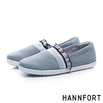 HANNFORT CALIFORNIA荷葉織帶甜美帆布鞋-女-寧靜藍