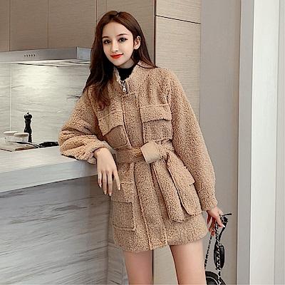 DABI 韓系系帶收腰毛絨絨外套羊羔毛收腰長袖洋裝