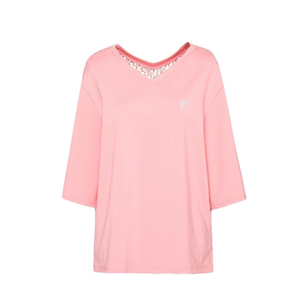 FILA 女吸濕排汗七分袖T恤-粉色 5TEV-1603-PK