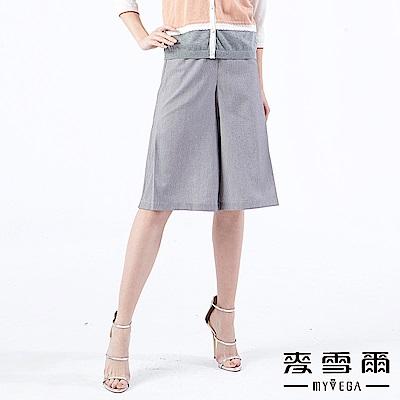 【麥雪爾】清新直紋打摺造型寬褲
