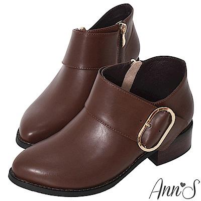 Ann'S超顯瘦深V口寬版橢圓金扣粗跟短靴-咖