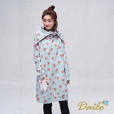 Dailo INLook 小雪人與夢不落帝國之雪球長版洋裝(藍色)