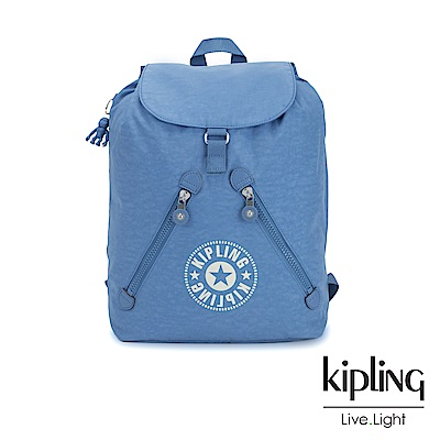 Kipling 致敬經典復古天藍色抽繩束口後背包-FUNDAMENTAL NC