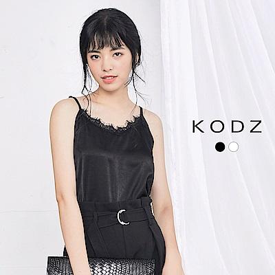東京著衣-KODZ 微性感緞面蕾絲細肩帶背心-S.M.L(共二色)