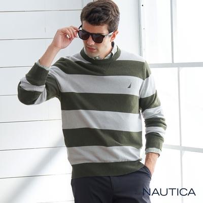 Nautica 男裝 質感條紋針織衫-墨綠