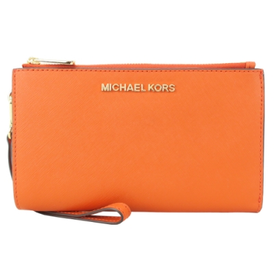 MICHAEL KORS JET SET防刮手掛式雙層長夾-橘色