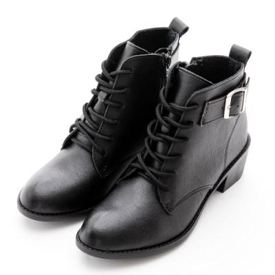 River&Moon短靴-超纖軟皮繫帶扣環粗跟短靴-黑