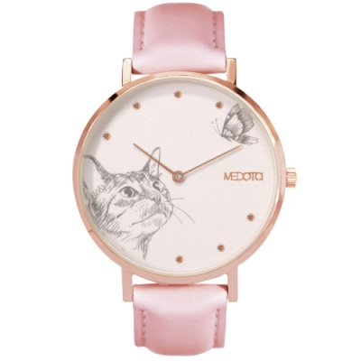 MEDOTA Love系列手繪風格貓咪粉色真皮錶帶女錶 / 玫瑰金色