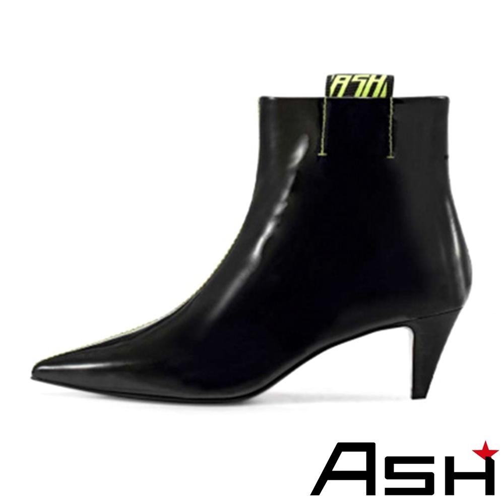 ASH-CAY潮流時尚鏡面牛皮尖頭細跟短靴-黑