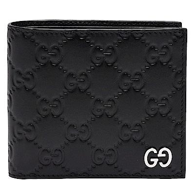 GUCCI 經典Signature系列GG壓紋銀色金屬LOGO牛皮折疊零錢袋短夾-黑-4卡