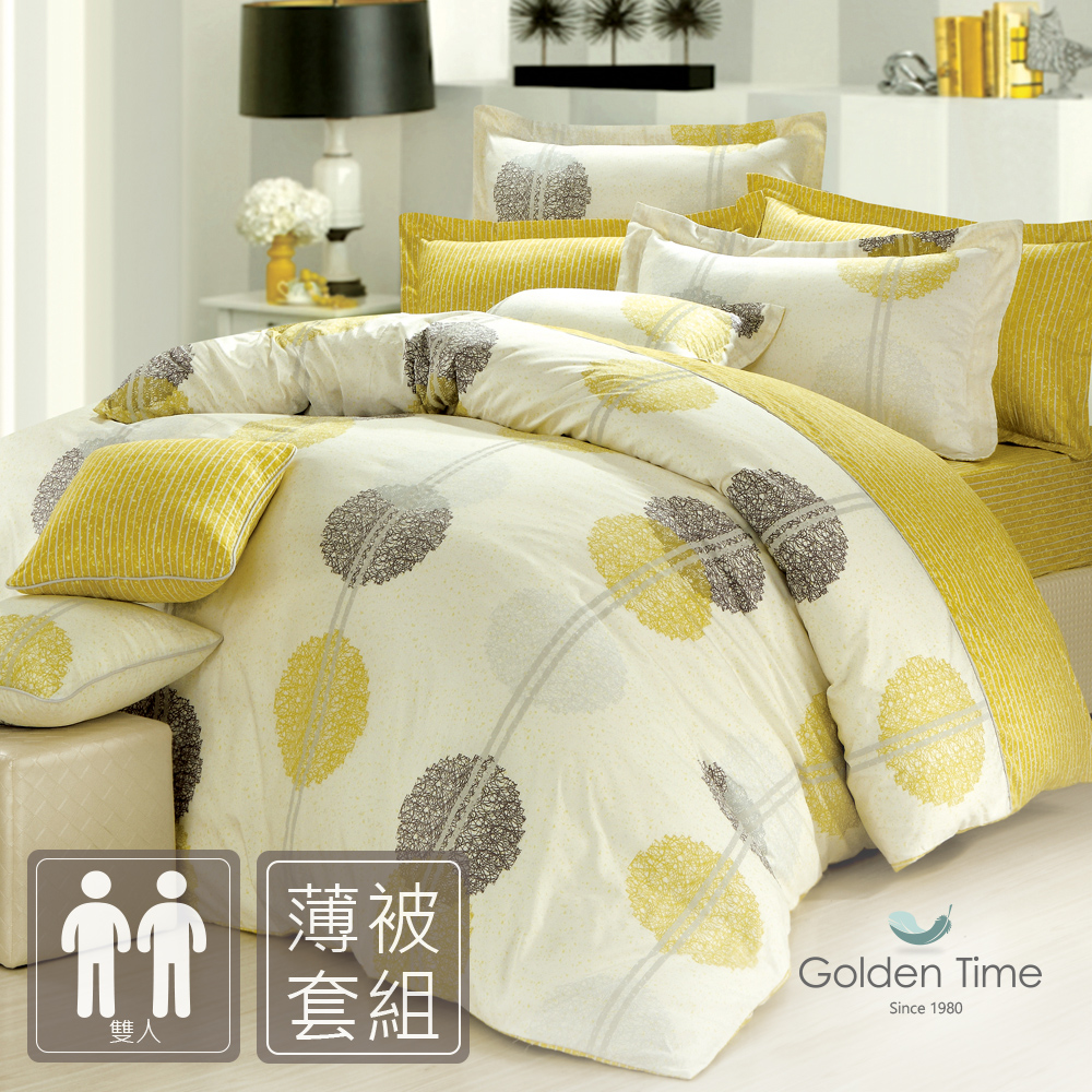 GOLDEN-TIME-圓舞曲-綠-精梳棉-雙人四件式薄被套床包組