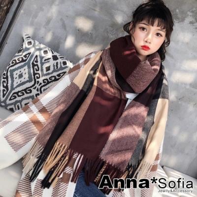 AnnaSofia 長方斜紋彩格流蘇 仿羊絨大披肩圍巾(黑紅咖駝系)